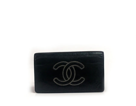 Chanel Black Calfskin CC Stitch Bifold Wallet