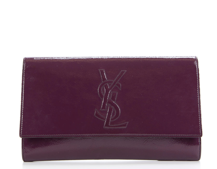Saint Laurent Plum Patent Leather Monogram Kate/Belle De Jour Clutch