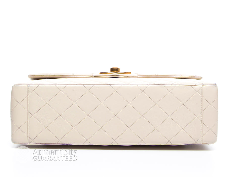 Chanel Ivory Lambskin Maxi Vintage Flap Bag