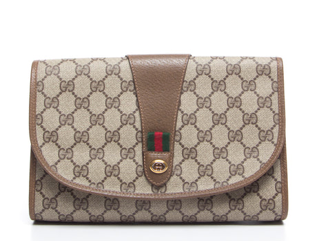 Gucci Beige Monogram Canvas Vintage Web Tab Clutch Bag