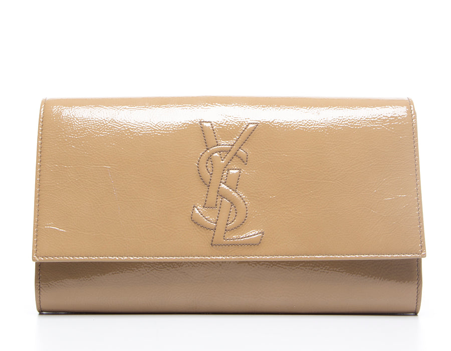 Saint Laurent Beige Patent Leather Monogram Kate/Belle De Jour Clutch
