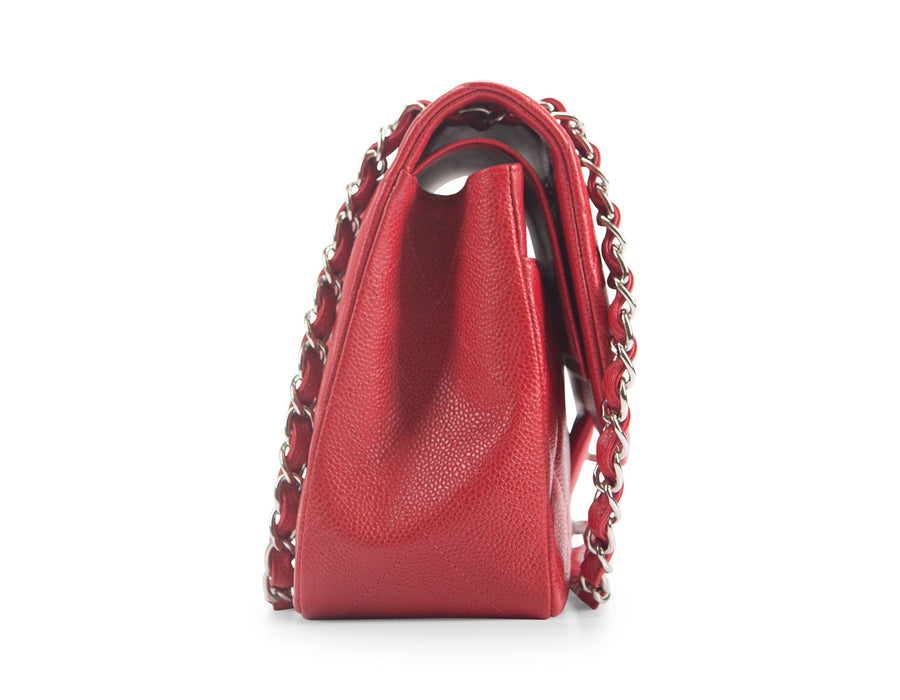 Chanel Red Caviar Jumbo Double Flap Bag
