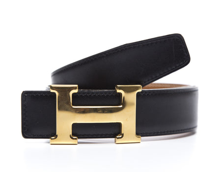 Hermes Black Boxcalf Constance H Belt Sz 65