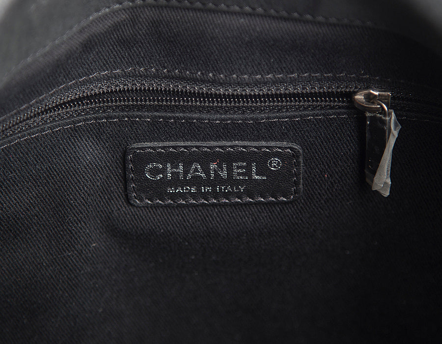 Chanel Black Iridescent Calfskin In The Mix Jumbo Flap