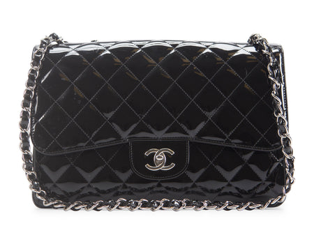 Chanel Black Patent Leather Jumbo Single Flap Bag