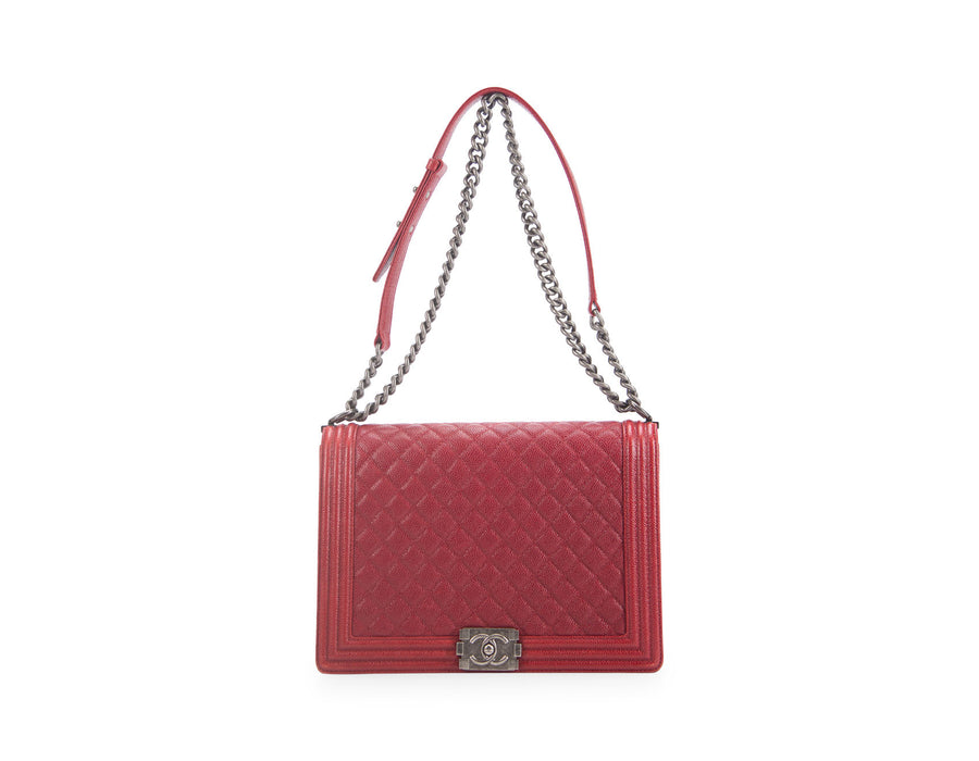 Chanel Red Caviar Large Boy Bag