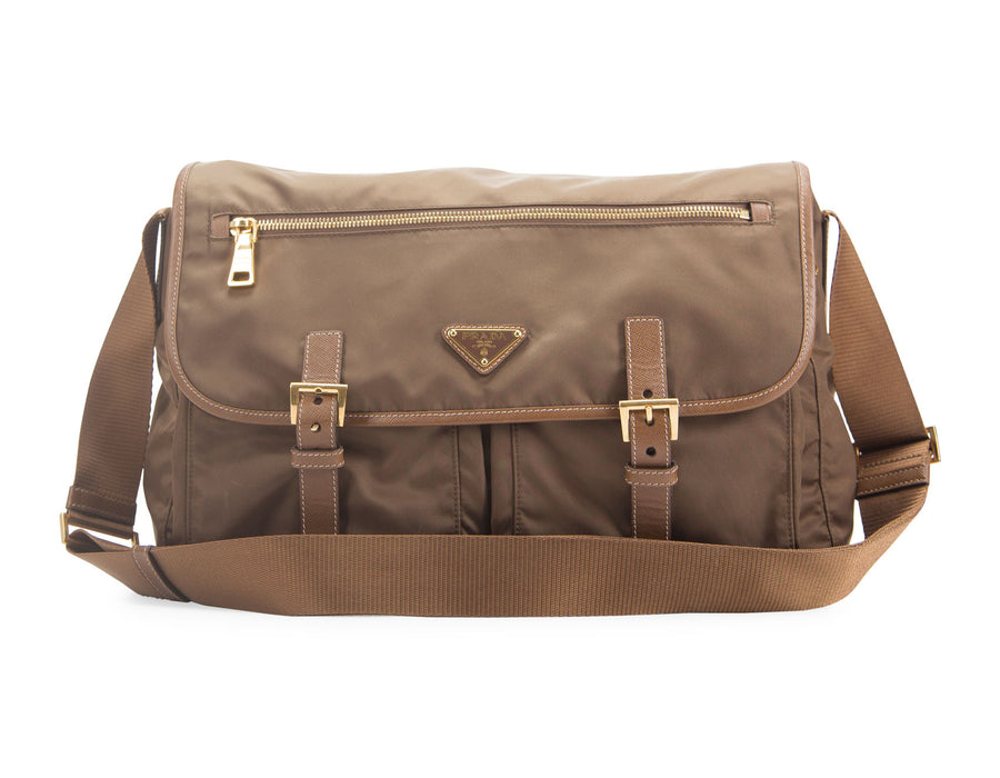 Prada Brown Nylon Messenger Bag