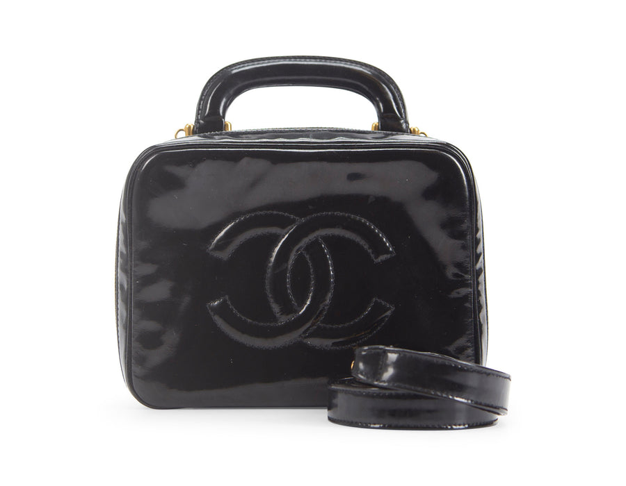 Chanel Black Patent Leather Vanity Crossbody Bag