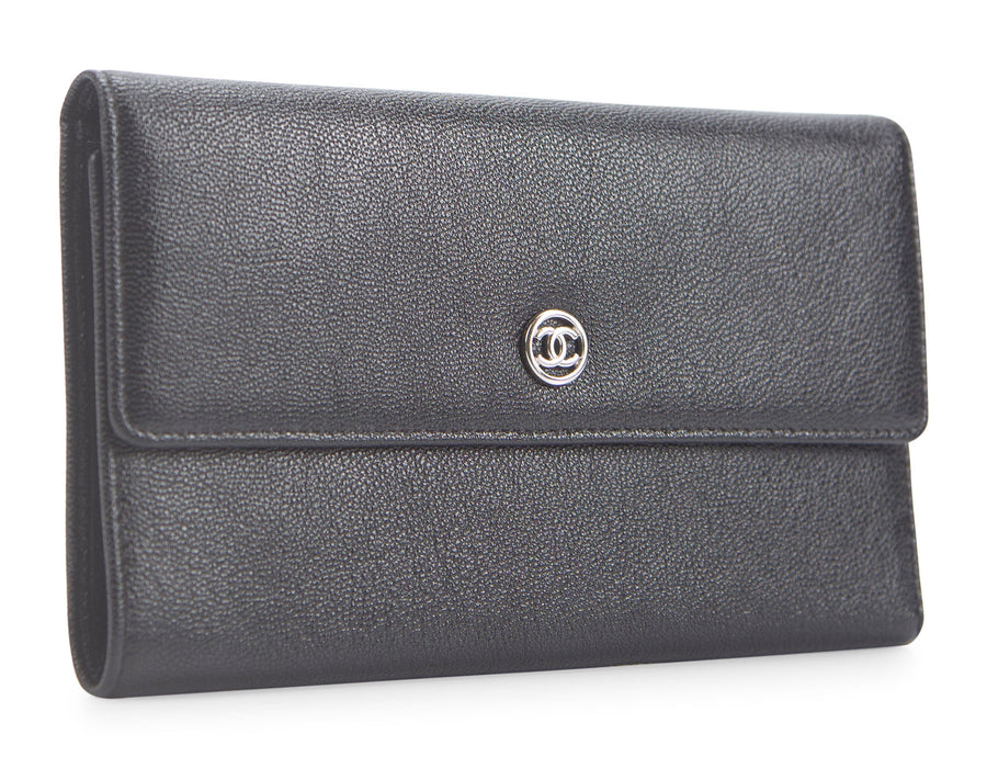 Chanel Black Caviar Continental Classic Wallet