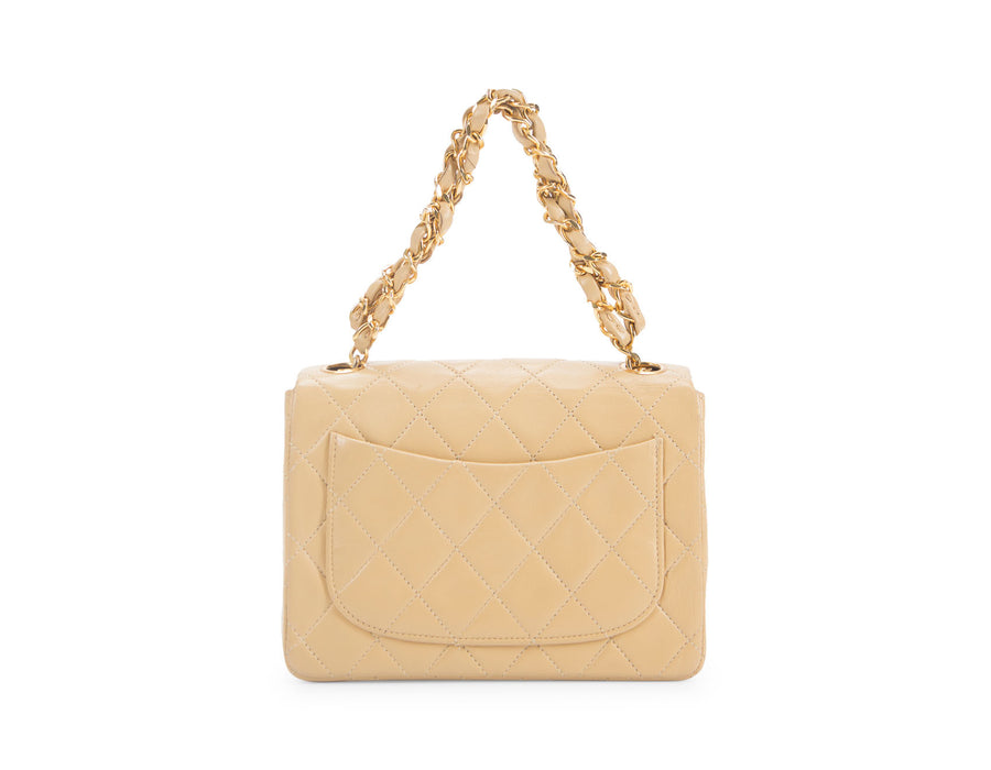 Chanel Beige Lambskin Mini Flap Bag