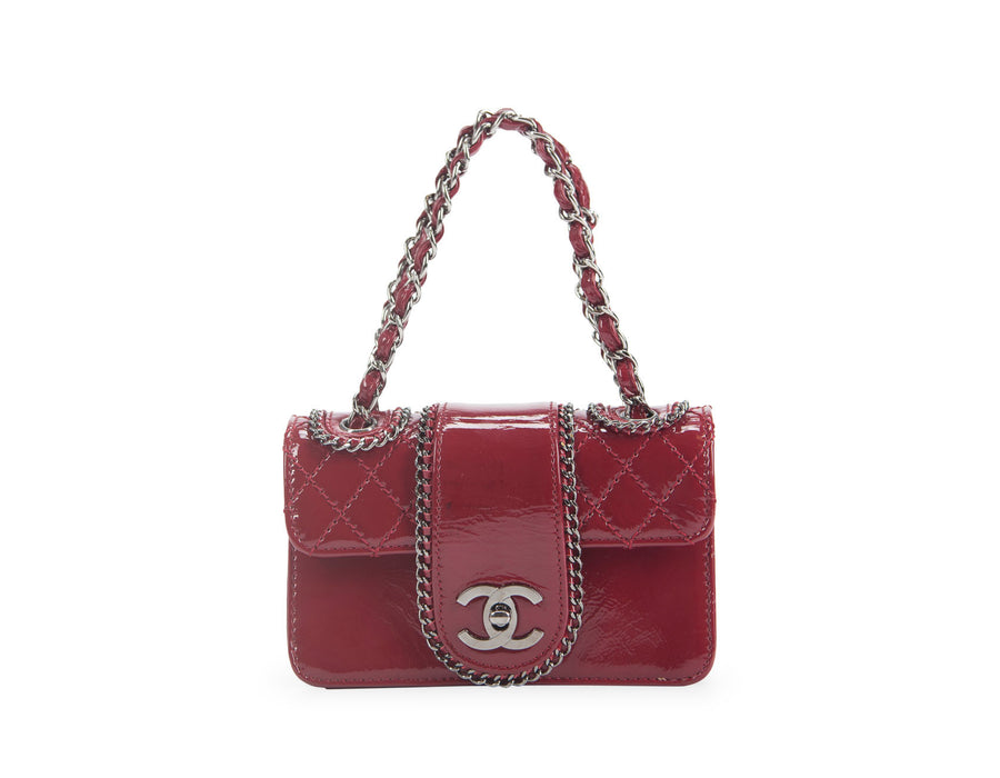 Chanel Red Patent Leather Madison Mini Flap Bag