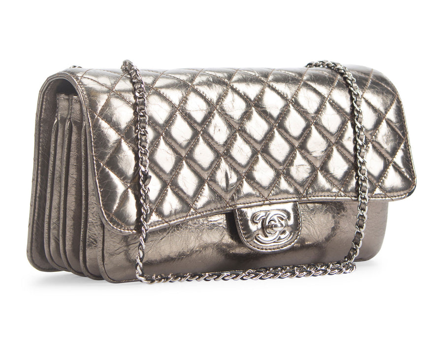 Chanel Metallic Glazed Calfskin Medium 3 Clamshell Flap Bag