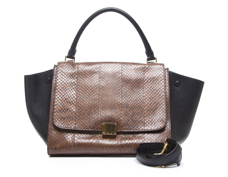 Celine Brown Python Black Leather Trapeze Bag