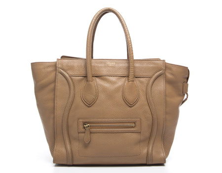 Celine Beige Pebbled Leather Mini Luggage Tote Bag