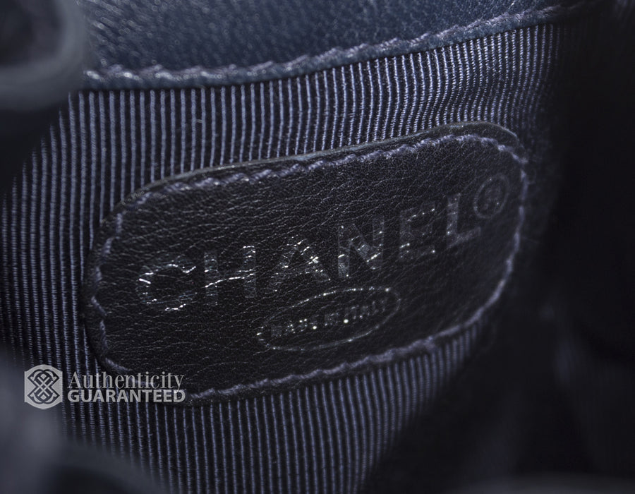 Chanel Black Lambskin CC Chain Backpack