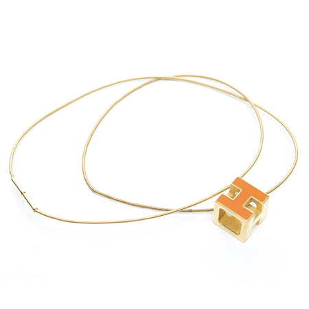 Hermes Orange Cube d'H Necklace
