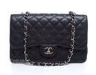 Chanel Black Caviar Jumbo Double Flap Bag SHW