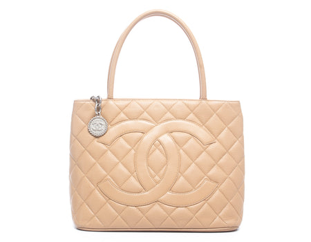 Chanel Beige Caviar Medallion Tote Bag