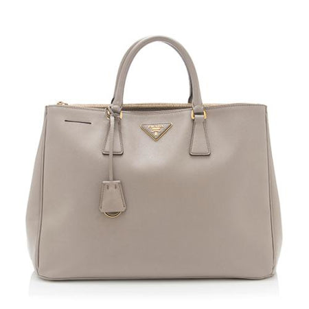 Prada Grey Saffiano Double Zip Large Lux Executive Tote Bag