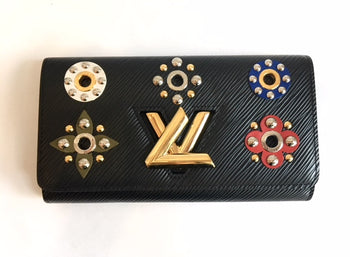 Louis Vuitton Noir Black Epi Twist Flower Wallet