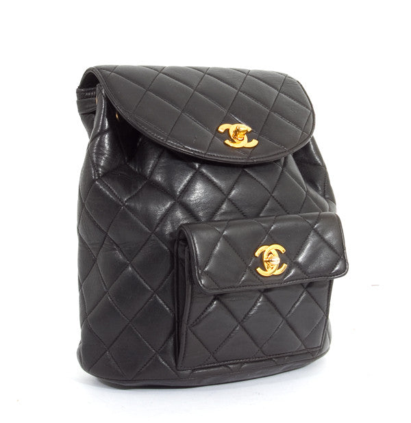 Chanel Black Lambskin Classic Quilted CC Backpack