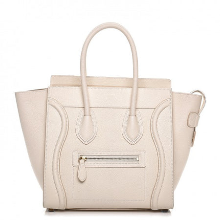 Celine White Goatskin Micro Luggage Tote Bag