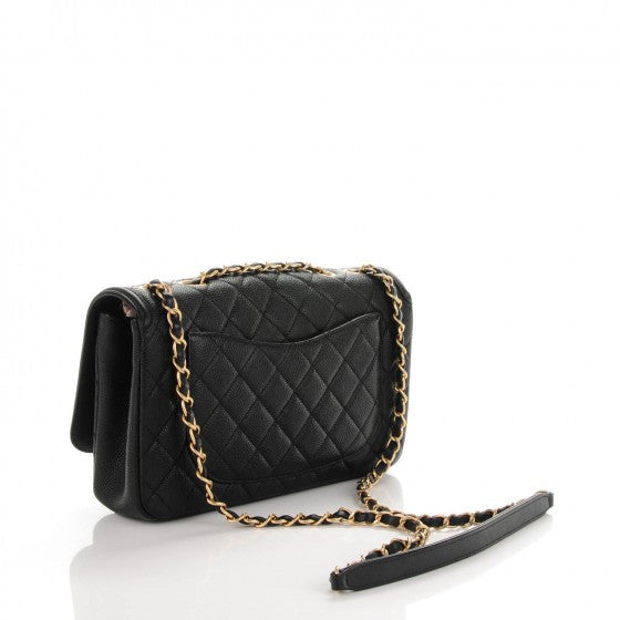 Chanel Black Caviar CC Filigree Medium Flap Bag