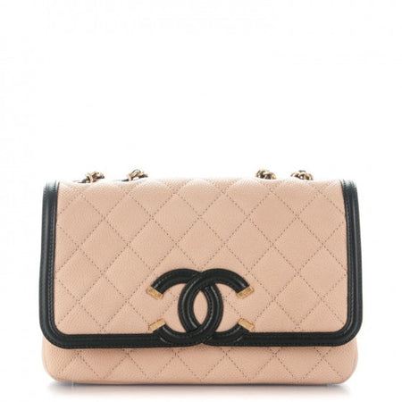 Chanel Beige and Black Caviar CC Filigree Flap Bag