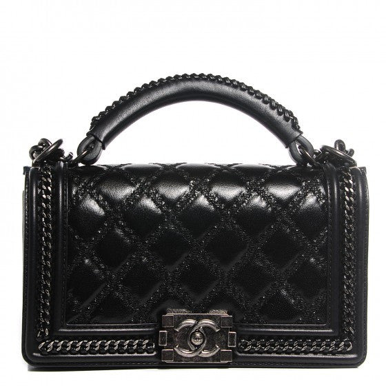 Chanel Black Goatskin Quilted Medium Boy Top Handle Flap Bag