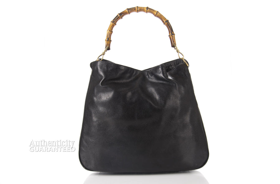 Gucci Vintage Black Leather Bamboo Diana Bag