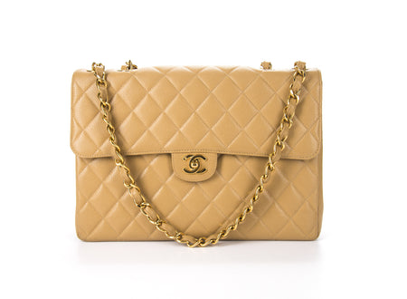 Chanel Vintage Beige Caviar Jumbo Single Flap Bag
