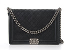 Chanel Black Suede Caviar Large Boy Bag