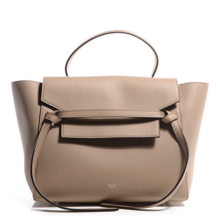 Celine Taupe Dune Drummed Leather Mini Belt Bag
