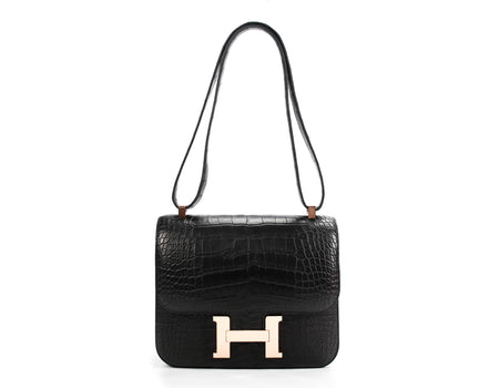 Hermes Black Crocodile Niloticus Matte Constance 24 Rose Gold HW Bag