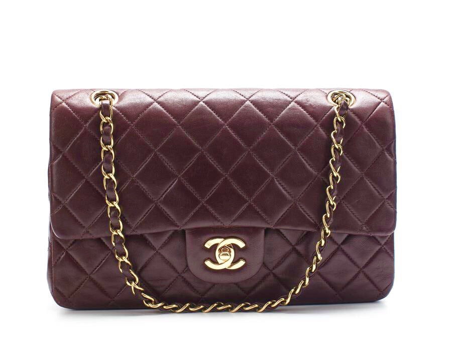 Chanel Burgundy Lambskin Medium Double Flap Bag