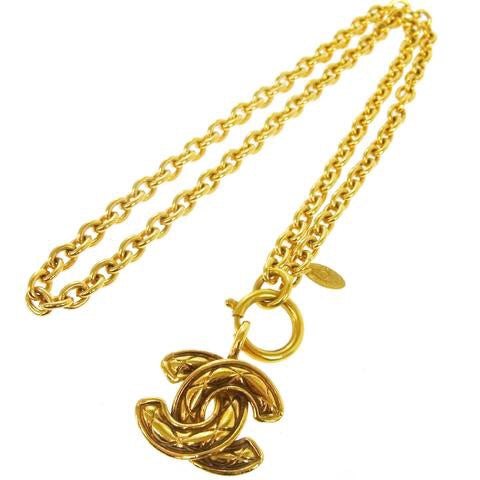 Chanel Gold Chain Quilted CC Pendant Necklace