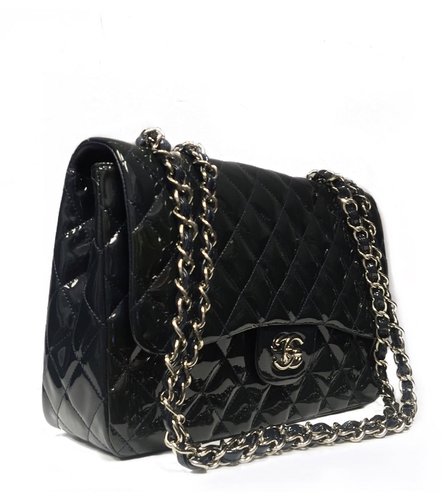 Chanel Navy Patent Jumbo Double Flap Bag
