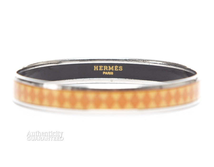 Hermes Orange Diamond Enamel 65 Bracelet