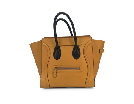 Celine Mustard Yellow Calfskin BiColor Mini Luggage Tote Bag