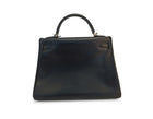 Hermes Black Box Calf Retourne Kelly 32cm Bag with PHW