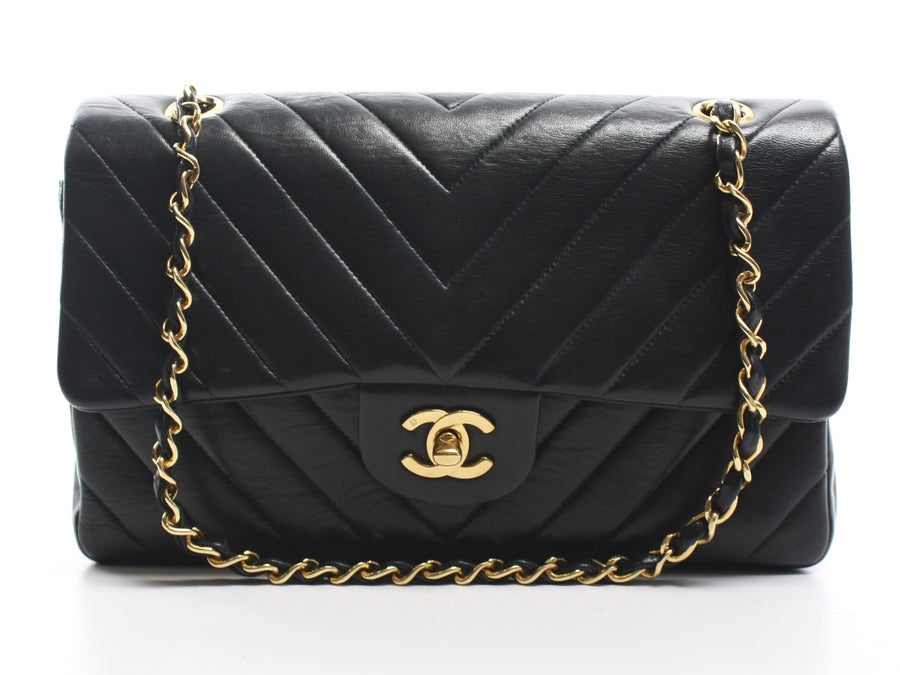 Chanel Black Lambskin Chevron Double Flap Bag
