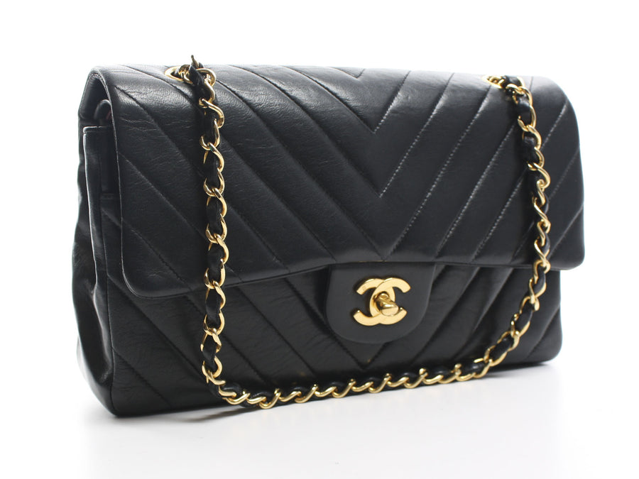 Chanel Black Lambskin Chevron Double Flap Bag GHW