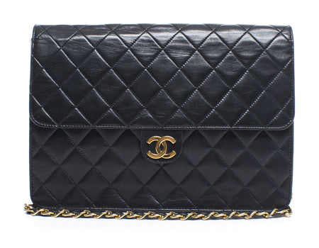 Chanel Black Lambskin Slim Vintage Flap Bag GHW