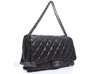Chanel Black Lambskin Maxi 3 Accordion Flap Bag