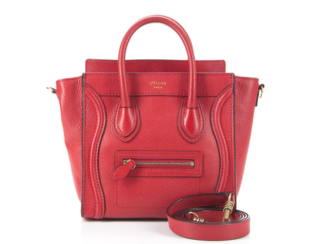 Celine Red Drummed Leather Nano Luggage Bag