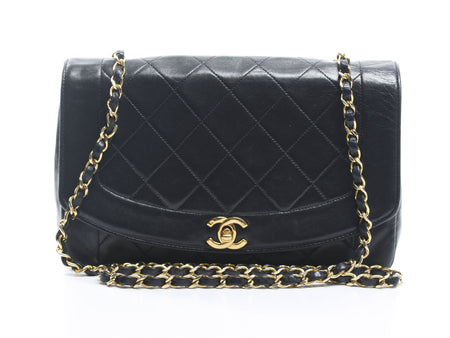 Chanel Black Lambskin Small Diana Flap Bag