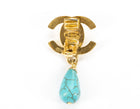 Chanel Gold CC Turnlock Turquoise Drop Clip On Earrings