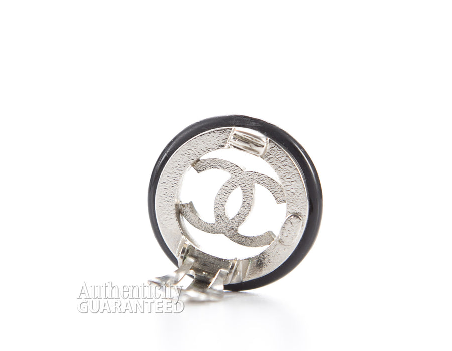 Chanel Black Silver CC Button Clip On Earrings