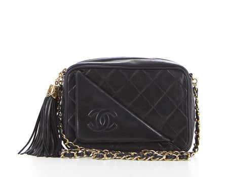 Chanel Black Lambskin CC Tassel Vintage Camera Bag