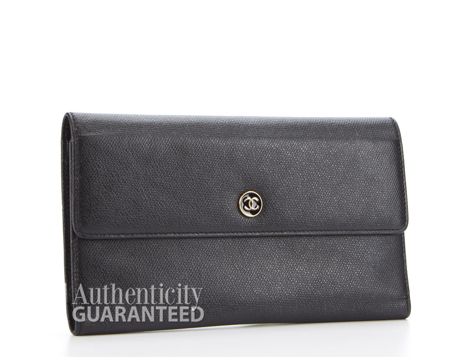 Chanel Black Caviar Trifold Envelope Wallet